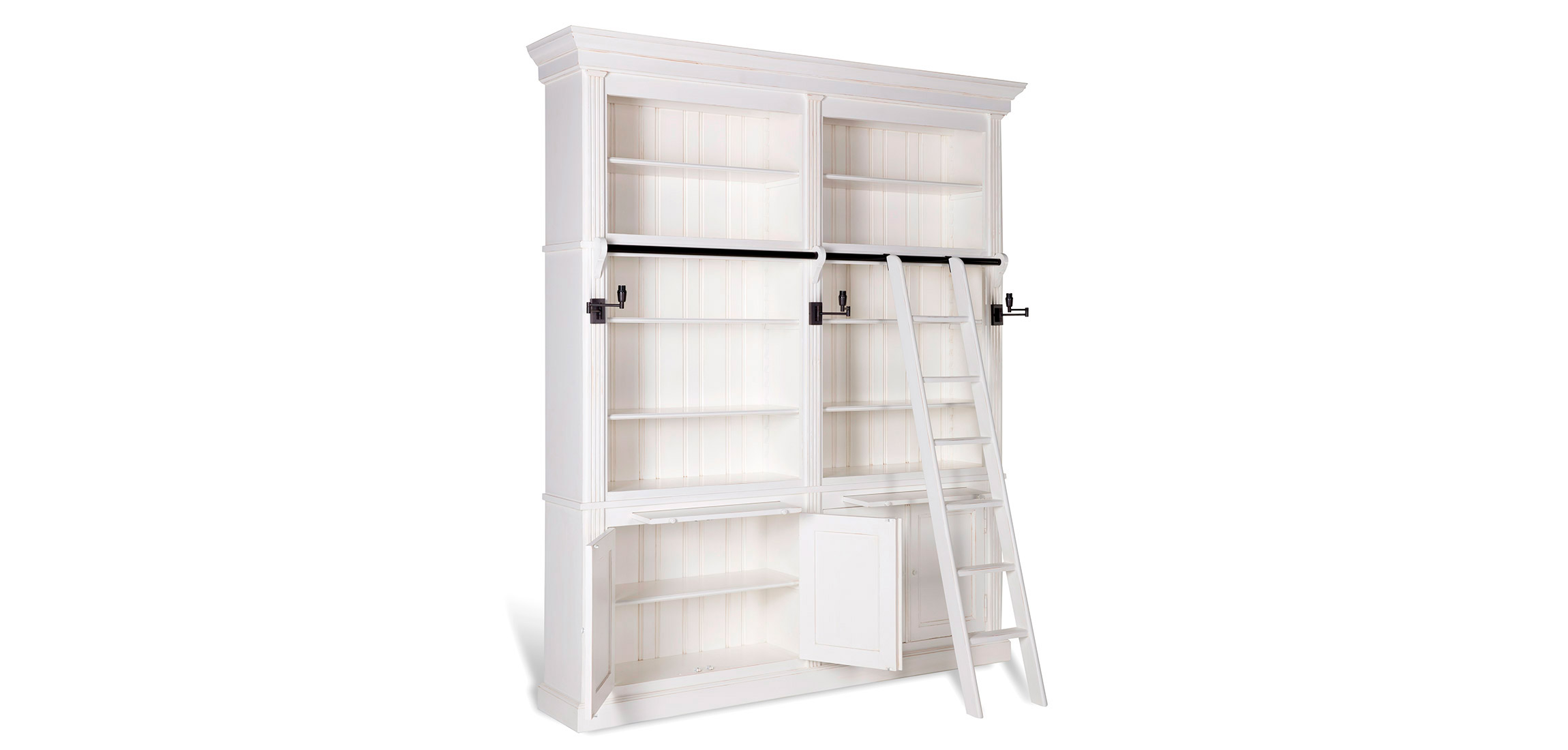 Balmore Bookcase White 2 Parts With Ladder Flamant