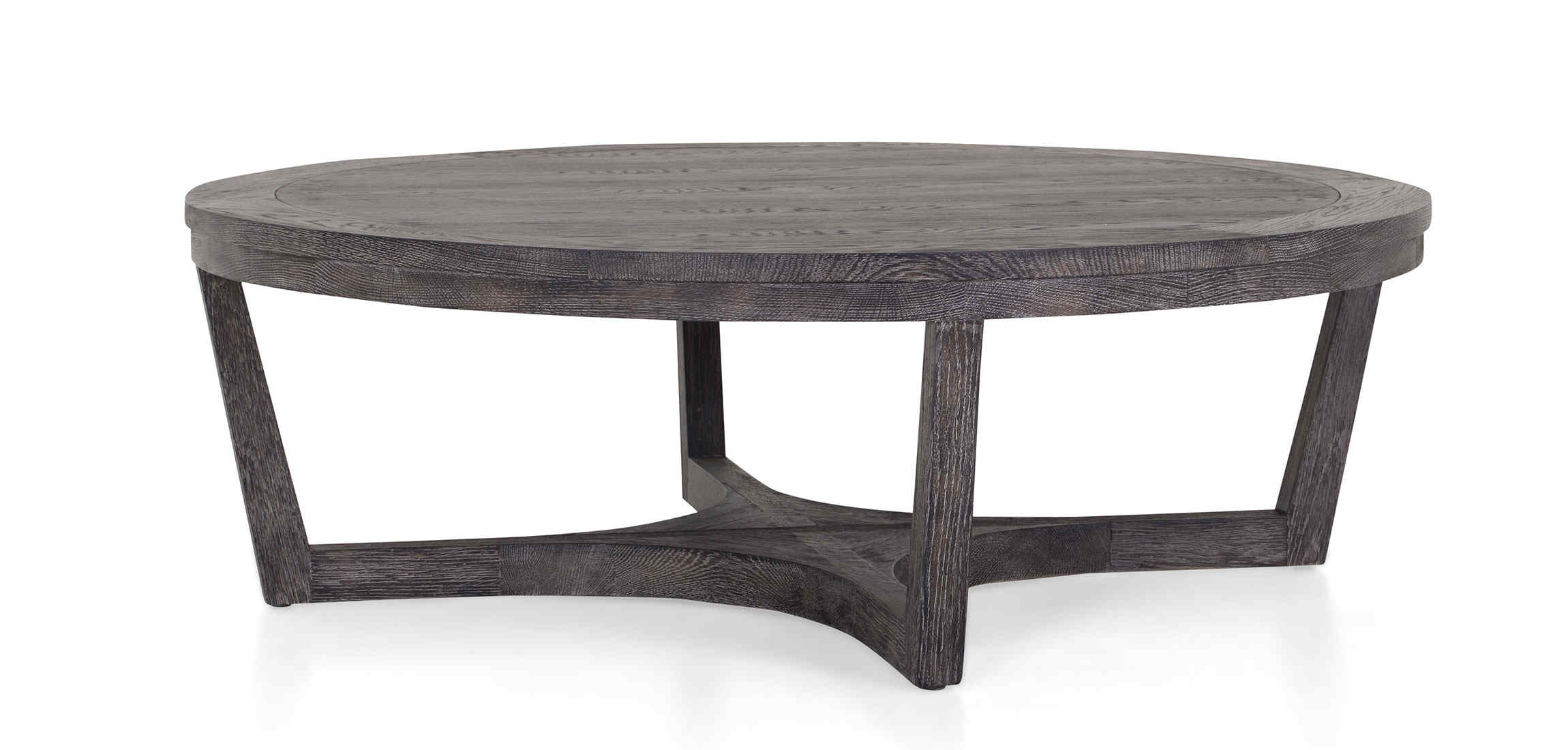 SYRINX round oak coffee table in grey