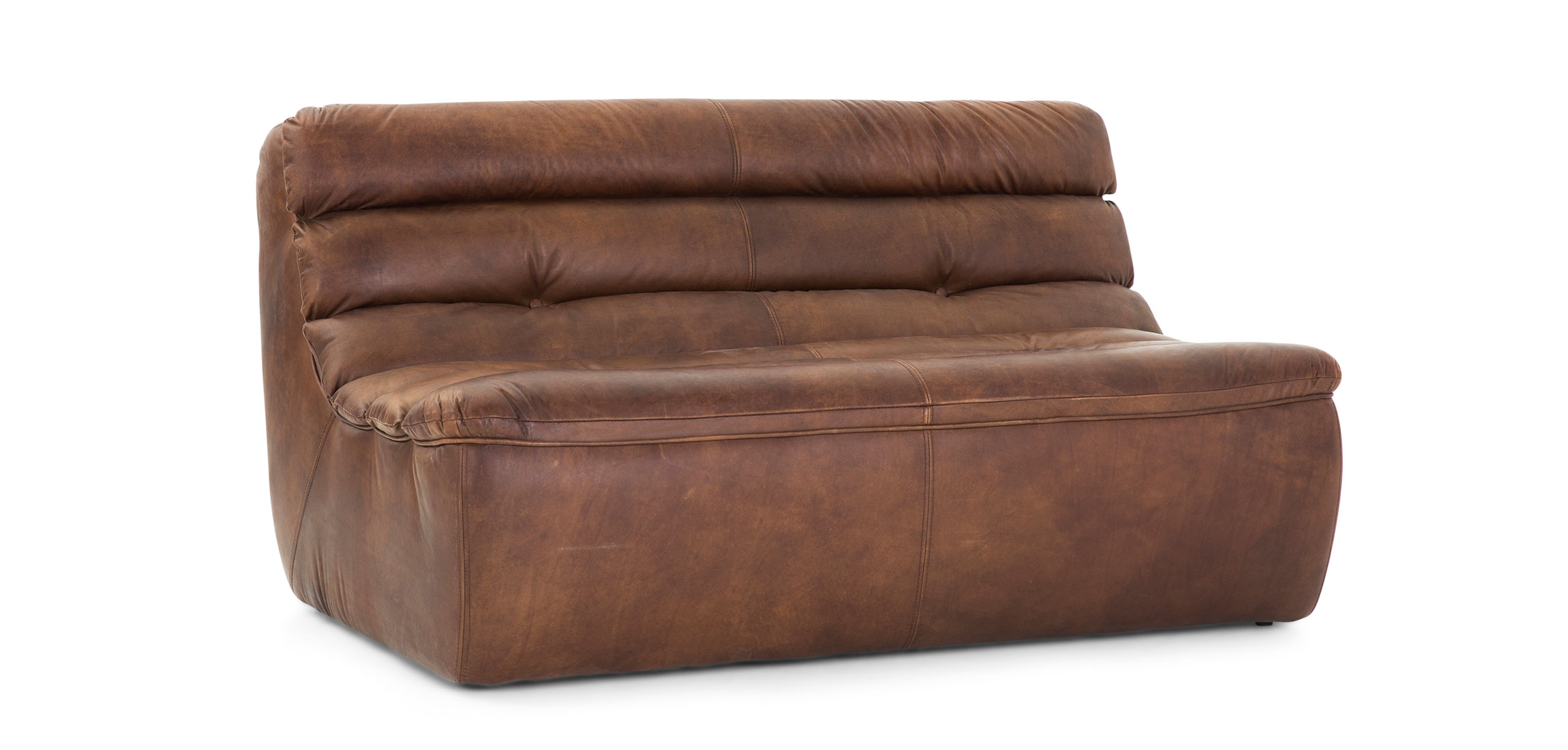 GRAN SASSO dark brown leather sofa 2 seater