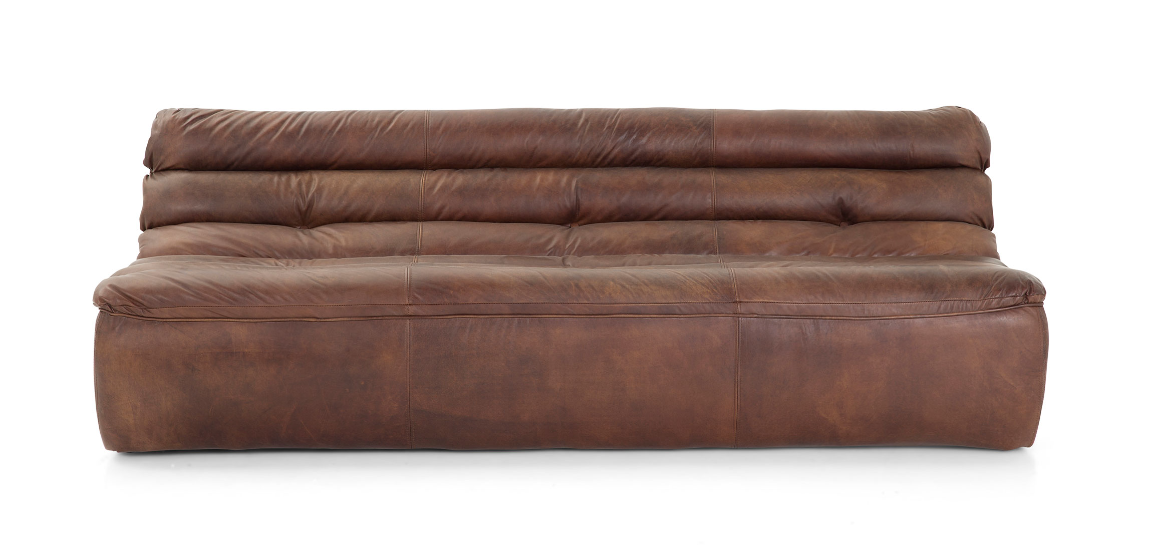 GRAN SASSO dark brown leather sofa 3 seater