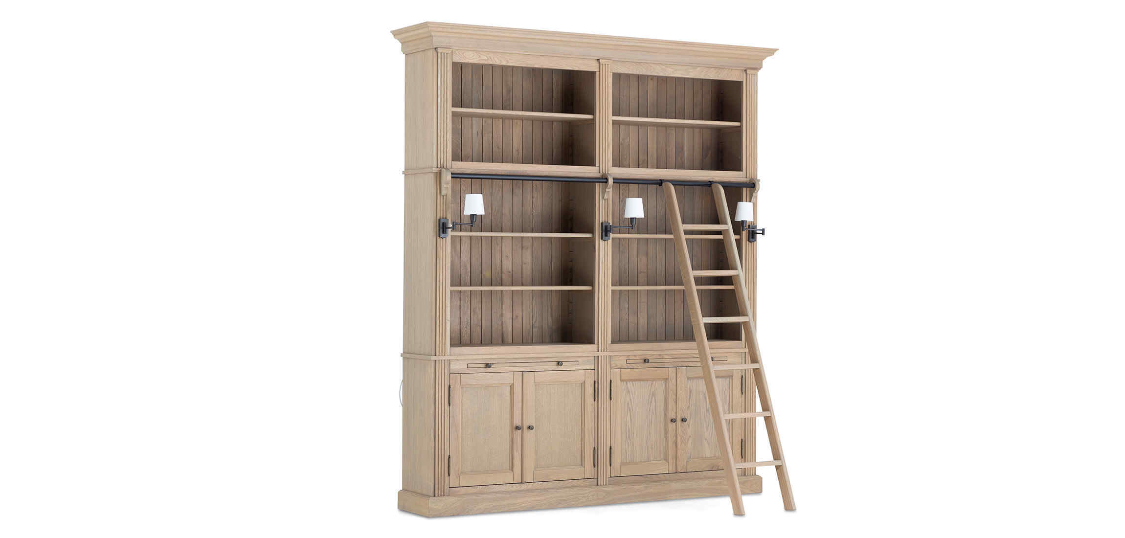 Balmore Bookcase Weathered Oak 2 Parts With Ladder