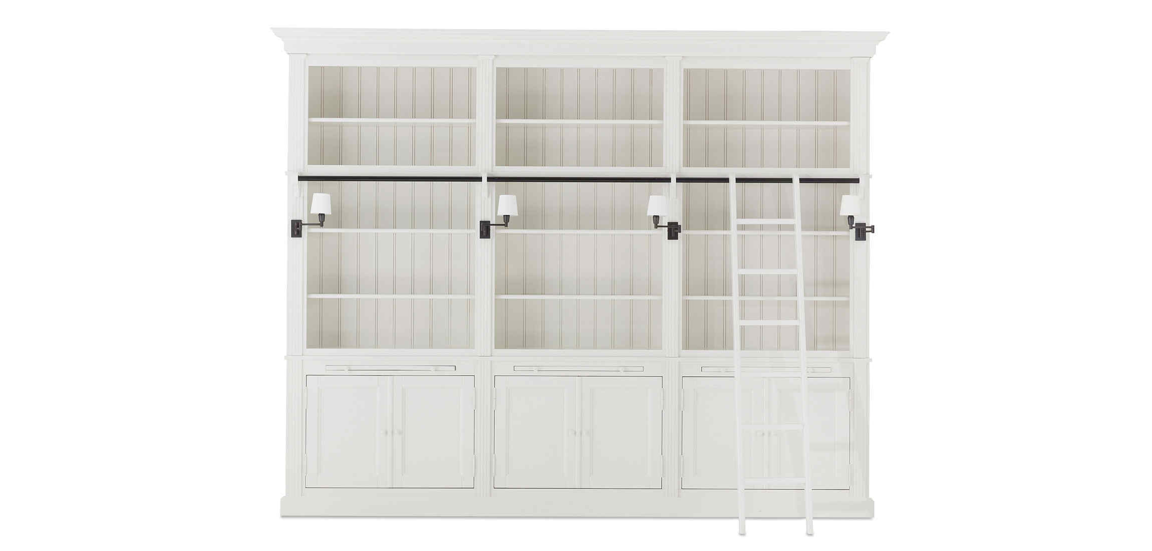 Balmore Bookcase White 3 Parts With Ladder Flamant