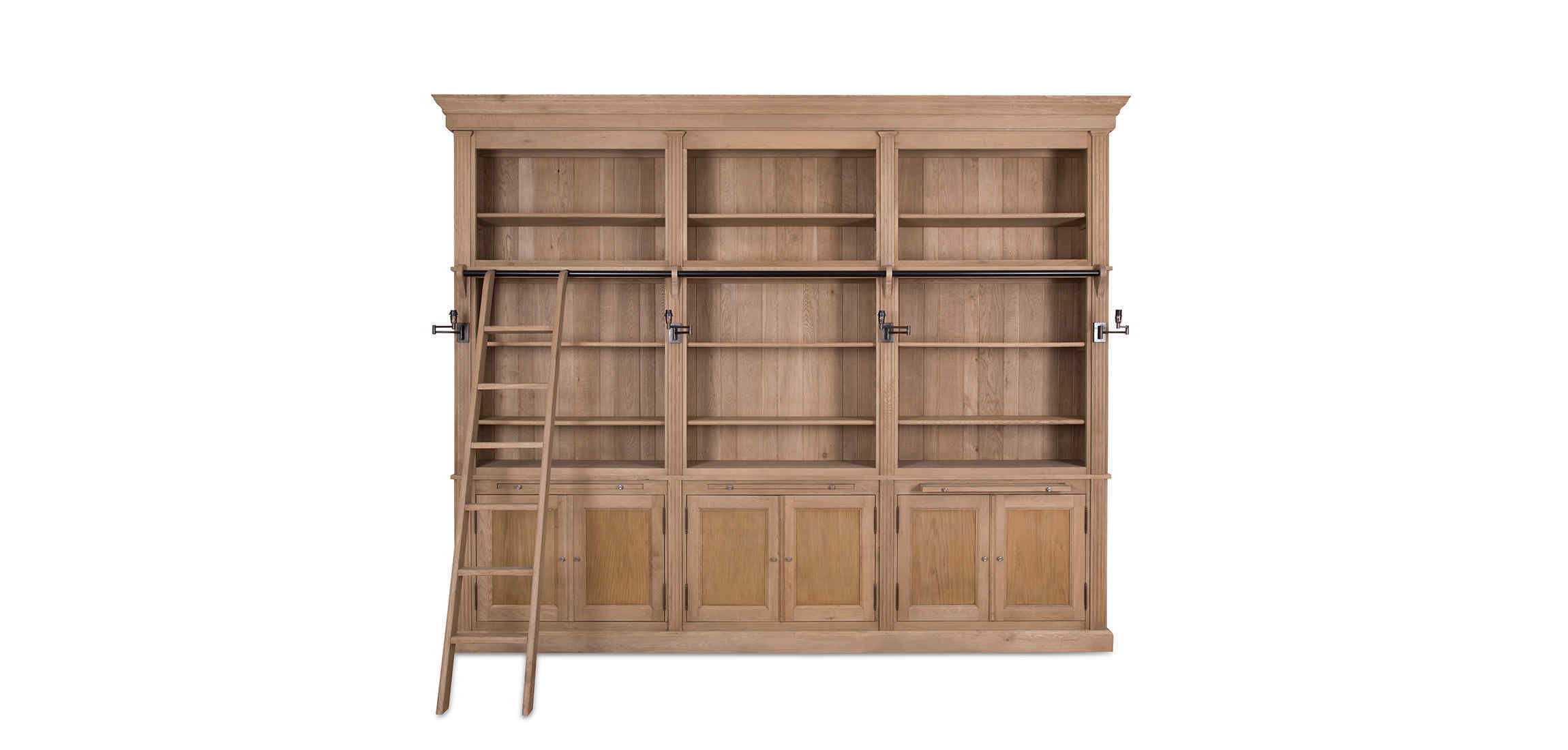 Balmore Bookcase Weathered Oak 3 Parts With Ladder